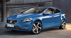 Volvo 2013 V40 T5 R-DesignBlue heaven: The Volvo V40 R-Design will appear at the Paris motor show dressed in trademark blue, although other colours will available in the showroom when it arrives Down Under in February.