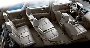 Nissan 2012 Pathfinder Peek inside: The next-generation Nissan  Pathfinder's plush cabin will be among the most flexible and spacious in its class, thanks to its car-like monocoque underpinnings.