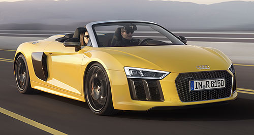 Audi 2017 R8 Spyder V10Down time: Audi's R8 Spyder employs the same 5.2-litre V10 and four-wheel drive transmission as its coupe sibling.