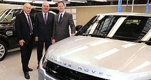 Jaguar  Big investment: JLR executive director Mike Wright (middle) with UK  deputy prime minister Nick Clegg (right) and business minister Vince Cable at the announcement.