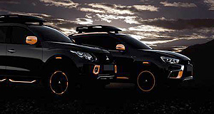 Mitsubishi 2016 ASX Urban adventurers: Mitsubishi appears to have been inspired by the Bugatti Veyron Super Sport with a pair of Geneva show cars that have orange details to highlight black bodywork.
