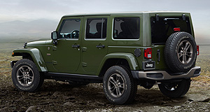 Jeep 2016 Wrangler Green machine: Jeep's spiritual successor to the original Willys Jeep, the Wrangler, is dressed in Sarge Green with bronze highlights in this special 75th Anniversary edition.