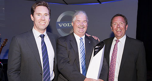 Volvo  Top dealer: Annlyn Motors dealer principal John Dunn with Volvo Car Australia managing director Matt Braid (left) and Volvo Car Corporation CFO Jan Gurander (right).