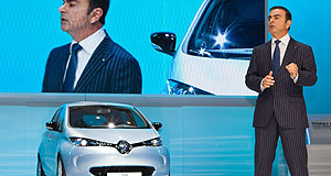 Renault  Words of advice: Renault-Nissan Alliance CEO Carlos Ghosn with the Renault Zoe EV hatchback at the Geneva motor show.
