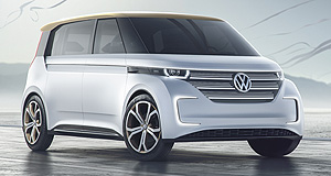 Volkswagen 2017 BUDD-e Drive buddy: Volkswagen's all-electric van concept has made its debut at the Consumer Electronics Show in Las Vegas, showing off a versatile range and innovative user interaction features.