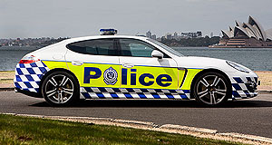 Porsche  Cop this: This Porsche Panamera looks the part as it goes on the beat with NSW Police.
