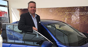 Honda Civic High hopes: Honda Australia director Stephen Collins with the 10th-generation Civic sedan that arrives in showrooms in June ahead of the hatch that lobs in the first half of 2017.