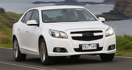 Holden 2012 Malibu On the road: Holden's mid-sized Malibu undergoes local testing before its 2012 Australian release.