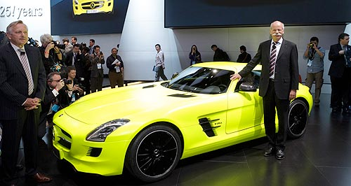 Mercedes-Benz 2015 SLS AMG E-CellTurned on: Mercedes' electric SLS can race from 0-100km/h in just four seconds.