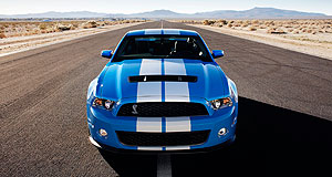 Ford 2009 Mustang Shelby GT500Striped snake: Shelby's famous Cobra stripes adorn the GT500 convertible for the first time as well as the coupe.
