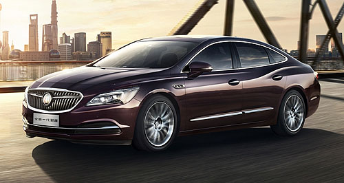 Buick LaCrosse Hot Crosse: Buick's LaCrosse large sedan is based on GM's new E2XX front-wheel-drive architecture that is expected to provide the basis for the next Commodore.