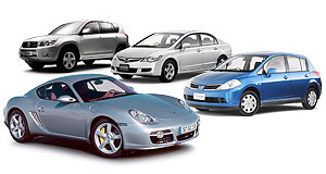 Alfa Romeo 2004 Brera From left: Toyota RAV4, Honda Civic, Nissan Tiida and Porsche Cayman S (front).