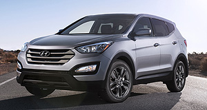 Hyundai Santa Fe Ready to roll: The North American-designed new Santa Fe displays Hyundai's new 'Storm Edge' styling language.