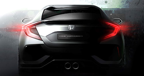Honda 2017 Civic HatchbackSporty rear: The Civic hatchback will be revealed at Geneva, but Honda is calling it a 'prototype'.