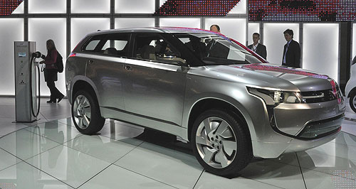 Mitsubishi 2013 PX-MiEV Show landing: The PX-MiEV previews Mitsubishi's next-generation Outlander, which will include a plug-in hybrid powertrain option and is due for release in Australia in 2013.