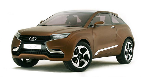 Lada 2015 XRAY Welcome matte: The Lada XRAY's brown colour scheme may turn a few stomachs but its matte finsh and striking looks will turn heads at the Moscow motor show.