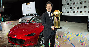 Mazda  Winners are grinners: Mazda Motor Corporation managing executive officer Masahiro Moro was on hand to accept the World Car of the Year Award in New York.