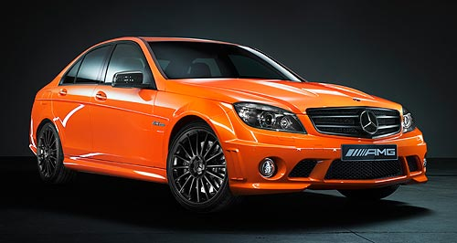 Mercedes-Benz C-class C63 AMG Performance PackJuicy: The brightly coloured Concept 358 is so-named because it is fitted with AMG's $14,000 performance pack, which ups power to 358kW (22kW more than the standard C63).