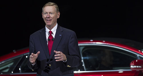 Ford  All smiles now: Ford Motor Company president and CEO Alan Mulally talks up the future of Ford at the Amsterdam event.