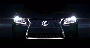 Lexus 2012 LS Spindle shot: This is how Lexus has teased the front-end styling of its new LS luxury limousine.