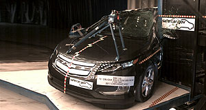 Holden Volt Put to the test: The Chevrolet Volt undergoing a side pole crash test in the United States in 2011.