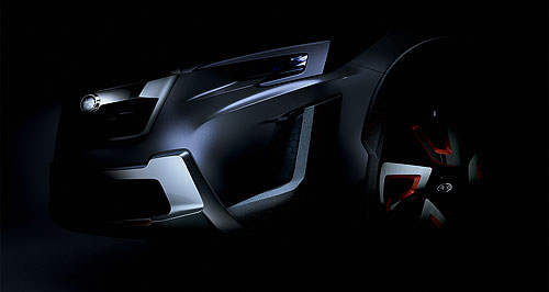 Subaru 2017 XV What a tease: Subaru has released just one darkened image of the front of the XV Concept but all will be revealed at the Geneva motor show.