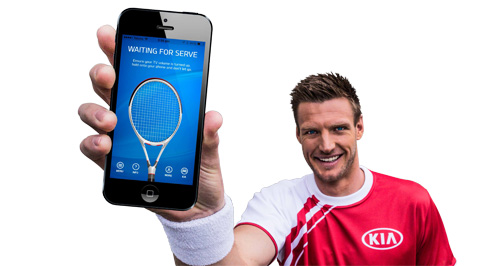 Kia  Upwardly mobile: Tennis player Sam Groff belts serves at up to 263km/h in Kia's phone app tennis serve competition.