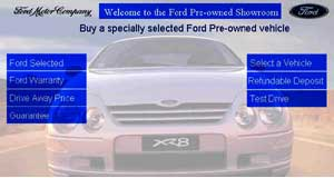 "Ford  Opening salvo: The opening page of Ford's pilot ""pre-owend showroom"" web site."