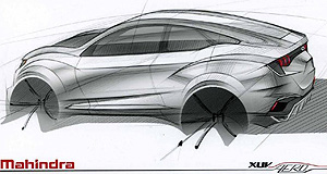 "Mahindra 2017 XUV AeroAero show: Mahindra released this sketch of its upcoming XUV Aero ""coupe"" concept that will lead the charge at this year's Delhi Auto Expo."