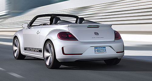 Volkswagen 2013 Beetle ConvertibleTopless model: VW previewed the forthcoming Beetle Convertible with the E-Bugster Convertible at the Beijing motor show in April.