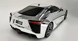 Lexus LFA On reflection: The shimmering chrome-wrapped Lexus LFA is the first example of the highly-exclusive hypercar to receive the treatment.