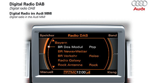 Audi  Audi like that: Interference-free, high-quality sound and the ability to receive broadcasted information are among the benefits of in-car digital radio, which is now standard on top-spec, V8-powered A8 limousines.