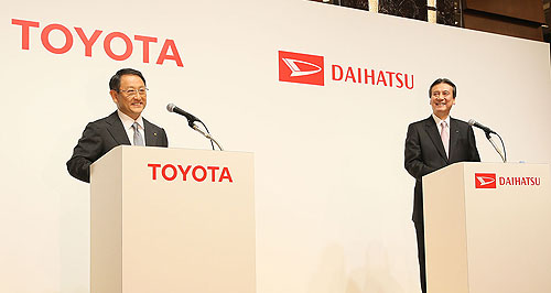 Toyota  That's who: Toyota president Akio Toyoda at the signing of the agreement with Daihatsu in Japan.