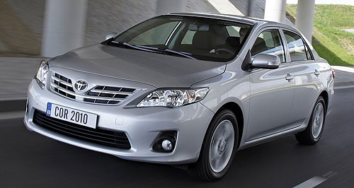 Toyota 2010 Corolla sedan rangeSpruce up: Toyota Corolla sedan gets a new grille as part of its three-box botox.