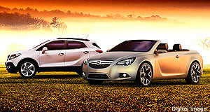 Opel 2014 Convertible Sporty Euro: An artist's impression of what the Opel convertible could look like, next to the Mokka light SUV.