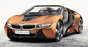 BMW  Copper jacket bullet: BMW's CES centrepiece i8 concept is dressed in E-Copper Orange and houses the latest in self-driving technology.