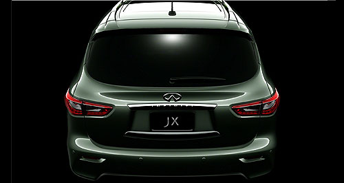 Infiniti 2013 JX Another teaser: Infiniti continues to issue sneak-peeks of its upcoming JX seven-seat SUV ahead of its full reveal in Pebble Beach on August 18.