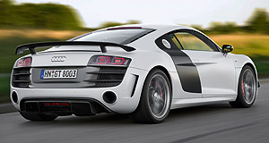 Audi 2010 R8 GTTipping the scales: The lightweight R8 GT features a fixed rear wing in place of the standard car's automatic spoiler.