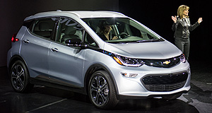 Chevrolet 2017 Bolt Vegas show: GM chairman and CEO Mary Barra talks up the new electric Chevrolet Bolt in Las Vegas.
