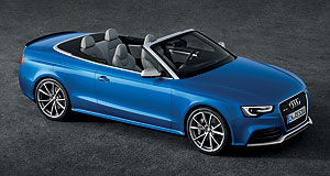 Audi 2014 A5 RS5 CabrioletTopless terror: The Audi RS5 cabriolet is powered by the same screaming 331kW 4.2-litre naturally-aspirated V8 engine as its hardtop sibling.