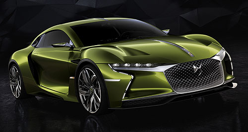 DS 2018 E-Tense In Tense: The striking DS E-Tense concept uses an electric powertrain to deliver a sportscar-worthy 300kW/516Nm.