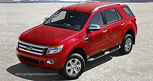 Ford 2013 Everest Mountain climber: The new-generation Ford Everest as seen in a rendering published by Car and Driver Brazil.