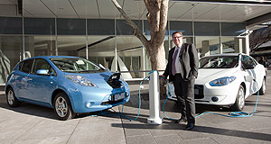 General News Electric Vehicles Charge away: Better Place Australia CEO Evan Thornley with a charging post in Canberra.