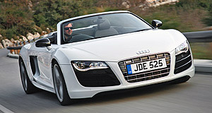 Audi 2010 R8 Spyder 4.2 V8Eight-legged Spyder: The topless Audi R8 was to have been fitted only with the V10, but here comes the V8.