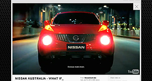 Nissan 2013 Juke Video star: This fleeting view of the Juke in Nissan's latest TV ad appears to confirm its impending arrival in Australia.