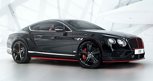 Bentley Continental GT Black SpeedGo-faster: The Bentley Continental GT Black Speed's haunches are accentuated by a fine red pinstripe, which is painstakingly painted by hand.