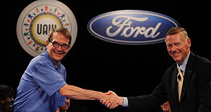Ford  Shaken and stirred: Negotiation rivals Bob King (UAW) and Alan Mullally (Ford) greet when the labour talks commenced at the end of July.