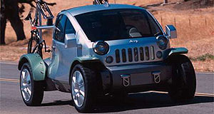 Jeep 2003 Treo concept Funky: two electric motors drive all four wheels of the 816kg Treo concept.