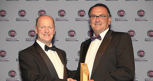 Fiat  Top effort: Crick's Chrysler Jeep Dodge dealer principal Ryan Harding (right) accepts his award as the top-performing CJD dealership in 2015 from FCA Australia president and CEO Pat Dougherty.