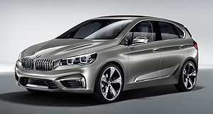 BMW 2014 Concept Active Tourer New member: The front-drive Concept Active Tourer plug-in hybrid is slightly larger than the rear-drive BMW 1 Series hatchback.